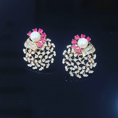 pearl and ruby earring