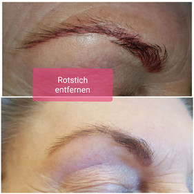 Rotstich entfernung von Permanent Make up