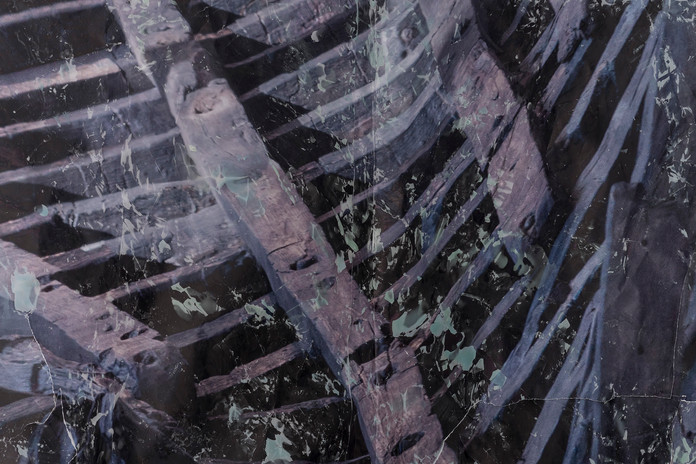 Shipwreck, detail,  Mixed media, inject print on paper & wax | 2021   Installation photos by Doron oved