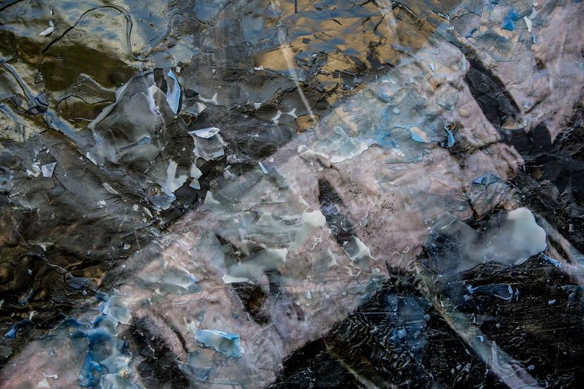 The sea of Umm el - Fahem 2020  Detail Day 5 on the wall  Mixed media, inkjet print on 80 gr paper & wax