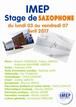 IMEP:Stage de Saxophone-Rhonny Ventat du lundi 03 au vendredi 07 Avril 2017
