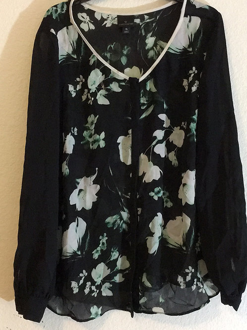 Worthington Black Flower Shirt - Size XL