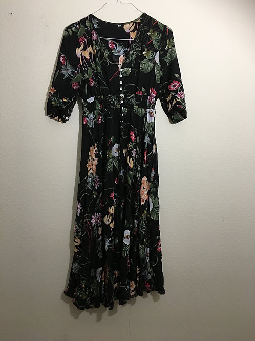 Black Floral Long Dress - Size Medium
