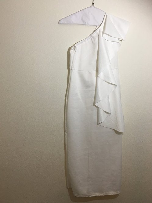 White One Side Shoulder Dress - Size XL