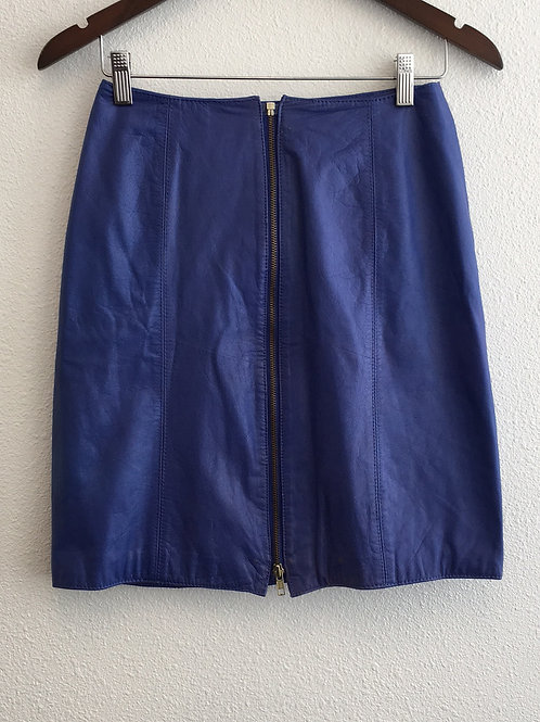 Blue Leather Skirt - Size 8