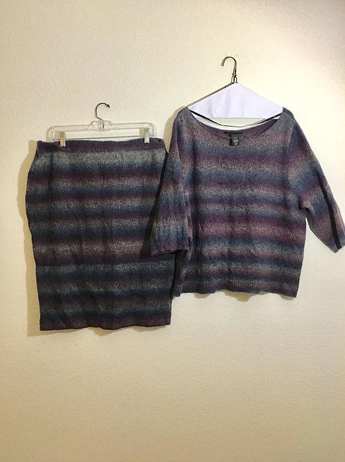 Lane Bryant Shirt & Skirt Sweater Set - Size L/XL