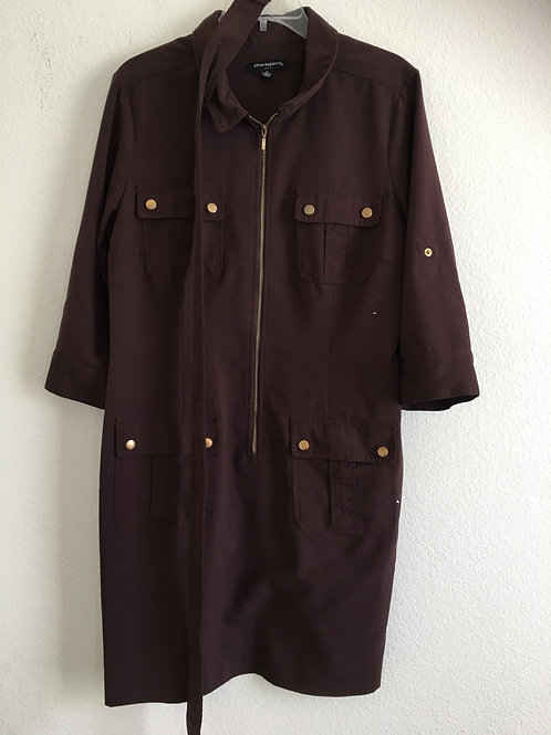 Sharagano Brown Dress w/Belt - Size 14