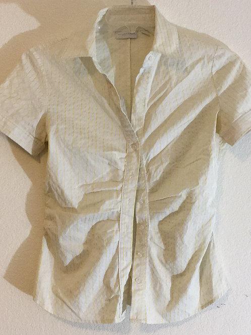 New York & Company Yellow Striped Shirt - Size Medium
