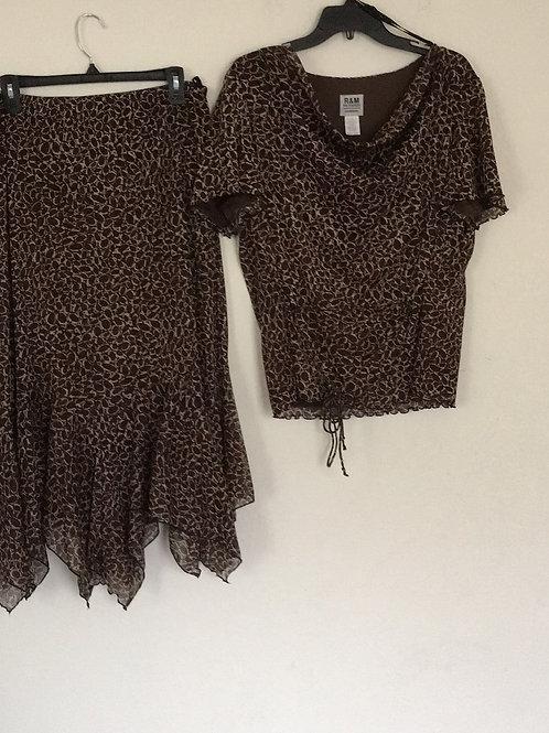R&M Brown Skirt Set - Size 18