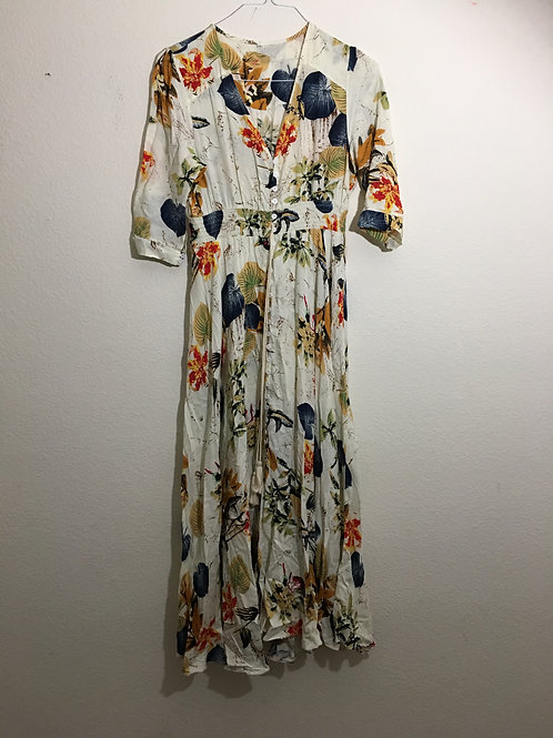 Off-White Floral Long Dress