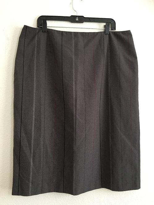 Ashley Stewart Gray Striped Skirt - Size 18