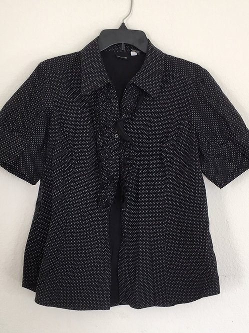 Willi Smith Black Polka Dot Shirt - Size XL