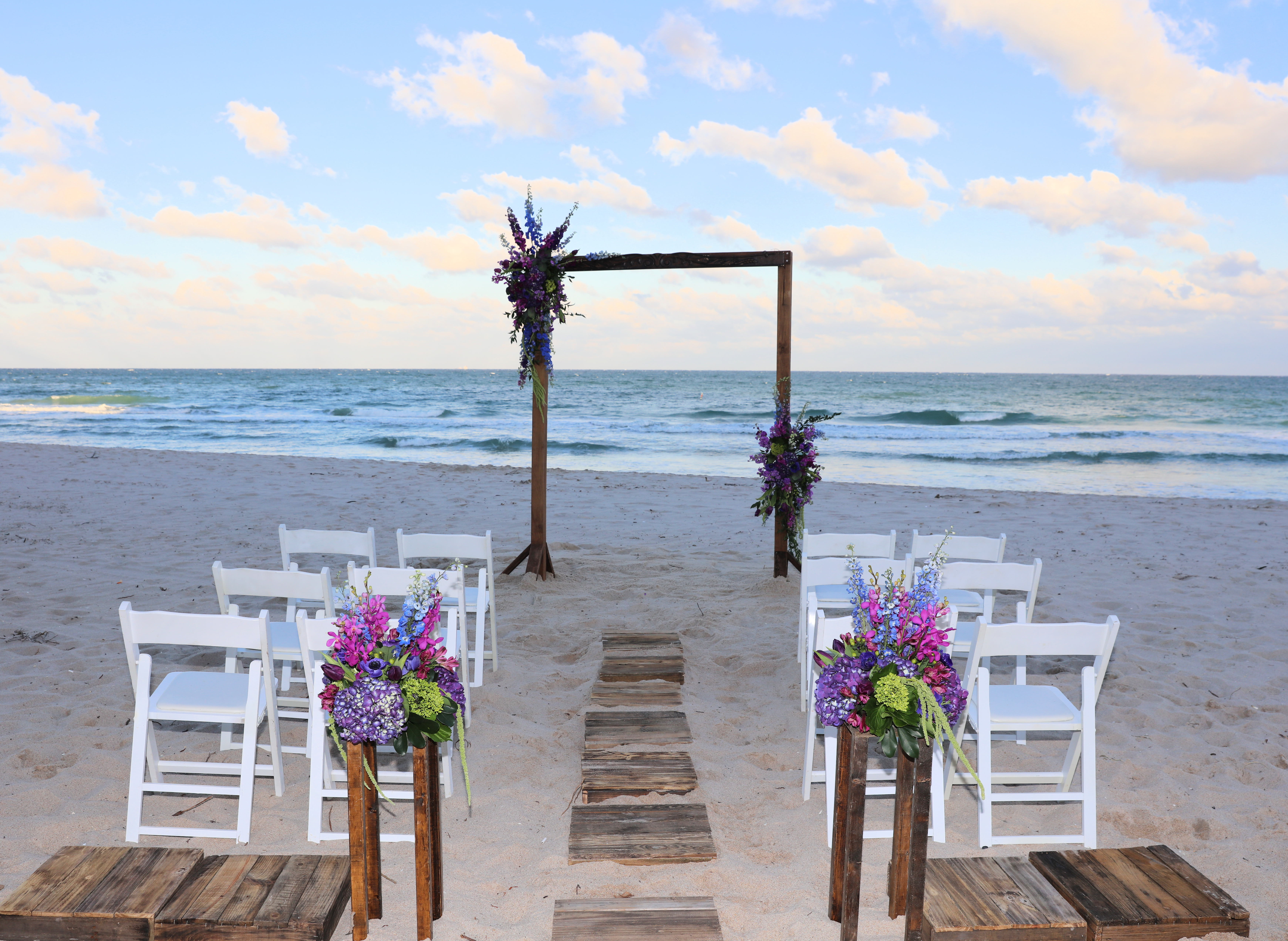 Rustic Wood Arch & Offset Florals