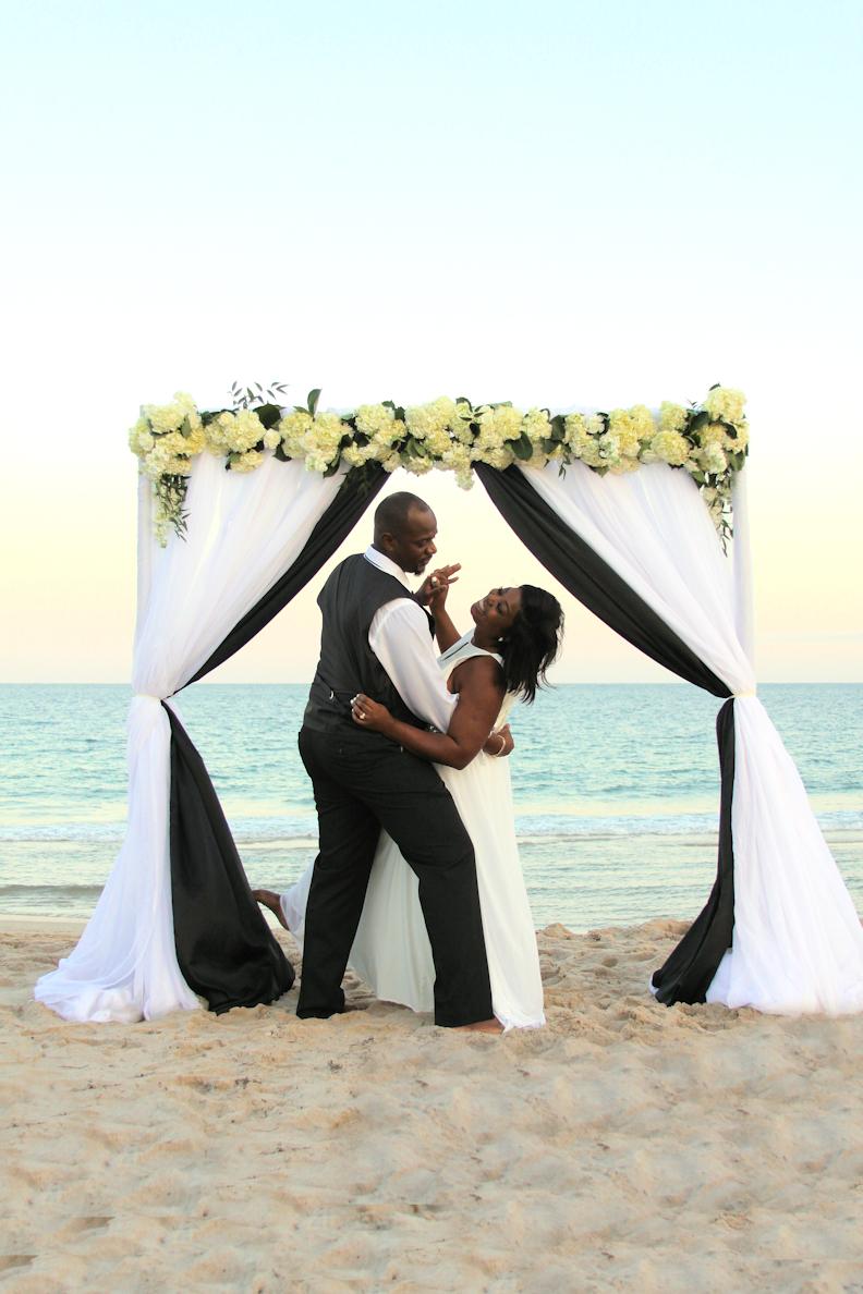 Black and White Beach Wedding Arch