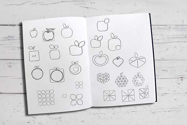 hand drawn sketched apple logo ideas