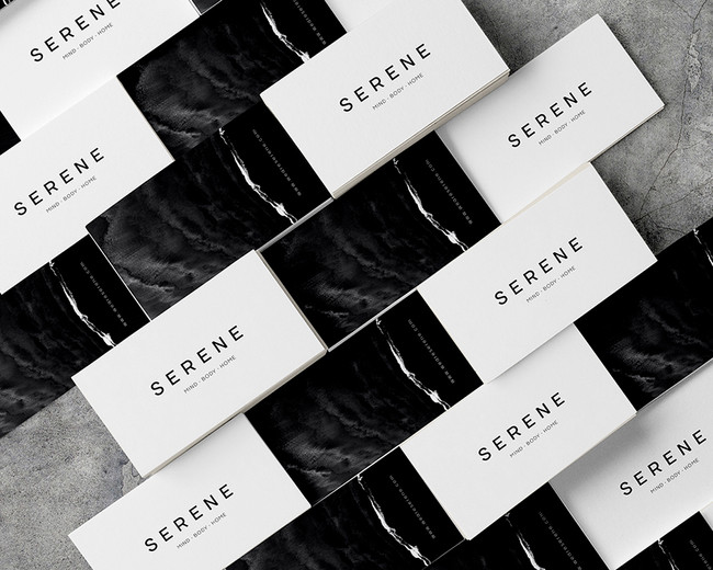 serene logotype on multiple business cards mockup