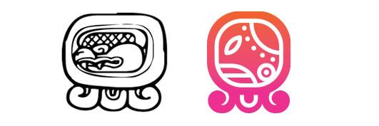 Chicchan / Kan daysign icon design. Maya Tzolkin Calendar.
