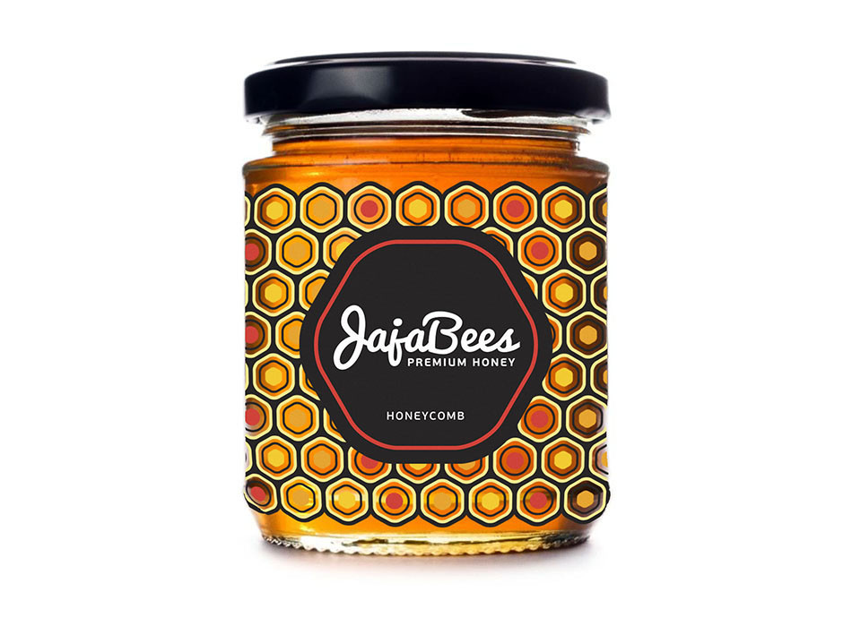 honey packaging design with modern honeycomb pattern - orange accent colour