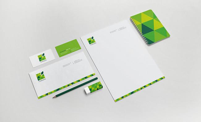 La Manzana square green apple stationery design angle