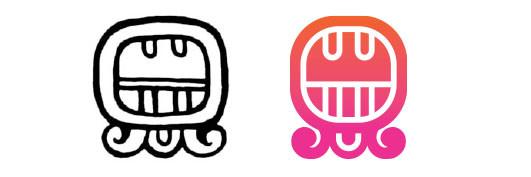 Ben / Aj daysign icon design. Maya Tzolkin Calendar.