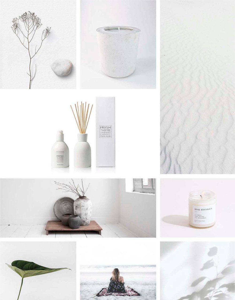 simple peaceful calm serene moodboard inspiration