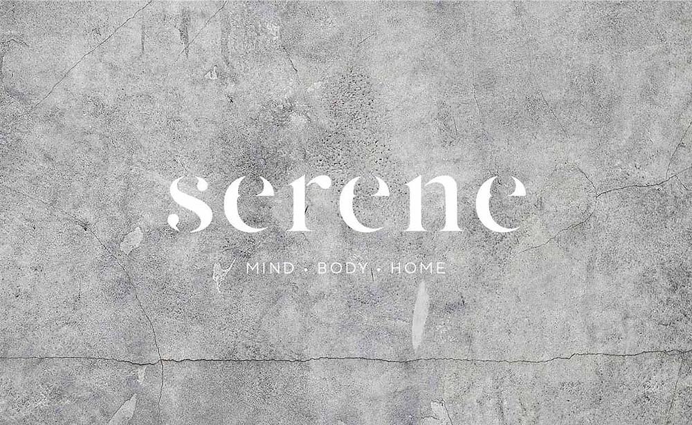 serene wordmark logo concept 1 on stone background
