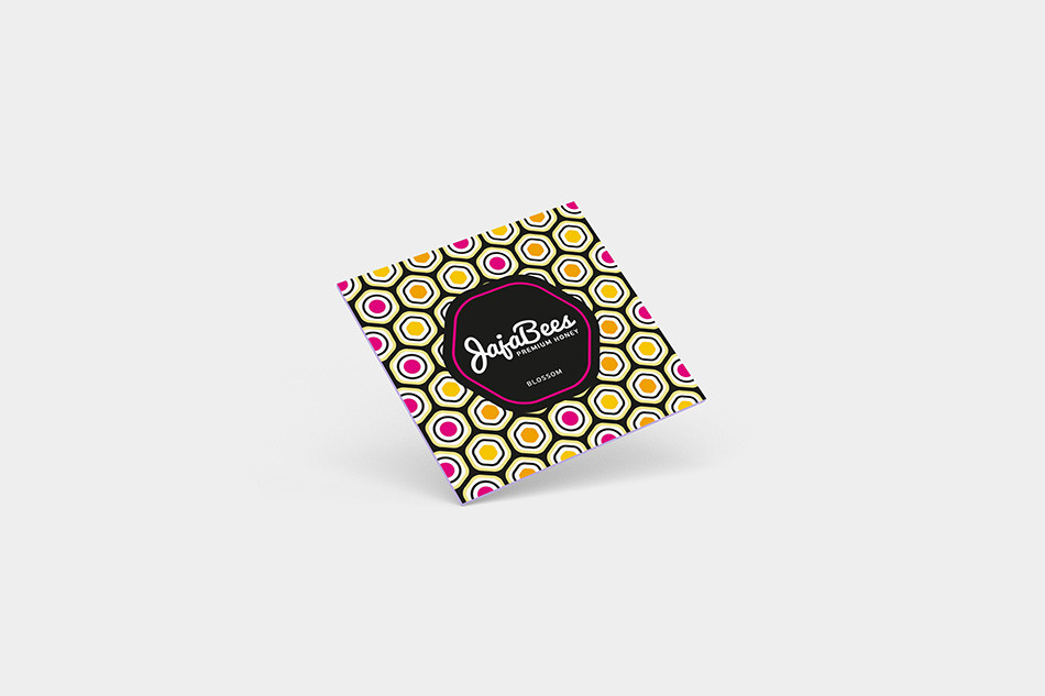 square card with modern honeycomb pattern - pink accent colour