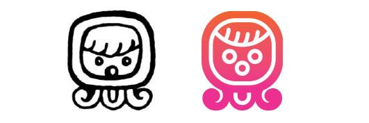 Ix / I'x daysign icon design. Maya Tzolkin Calendar.