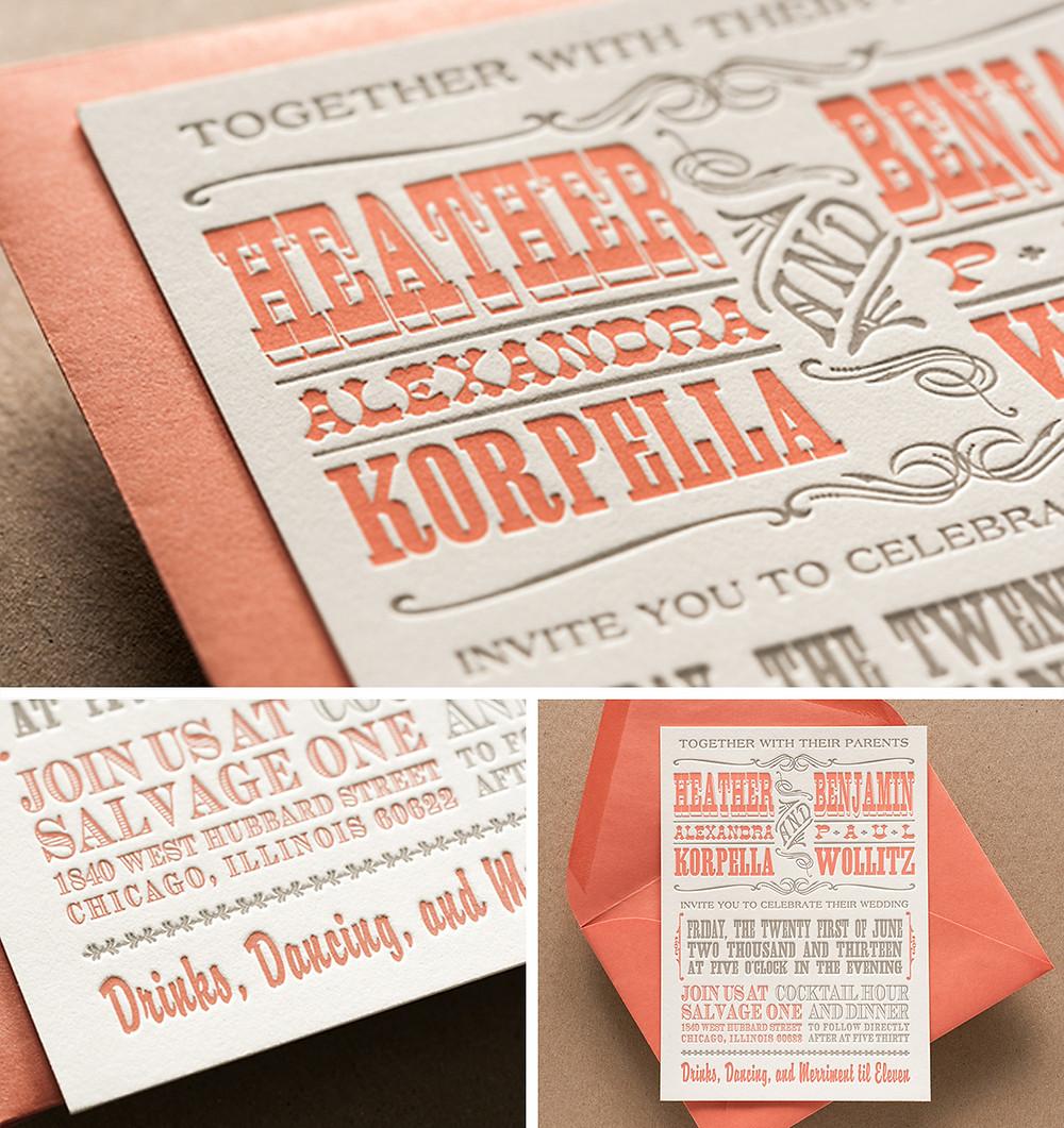 Design and letterpress print of wedding invitation