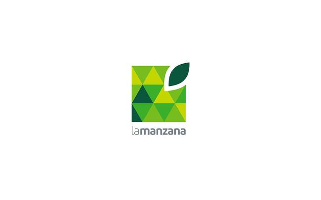La Manzana square green apple logo design