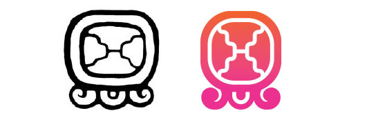 Etznab / Tijax daysign icon design. Maya Tzolkin Calendar.
