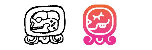 Cimi / Kame daysign icon design. Maya Tzolkin Calendar.