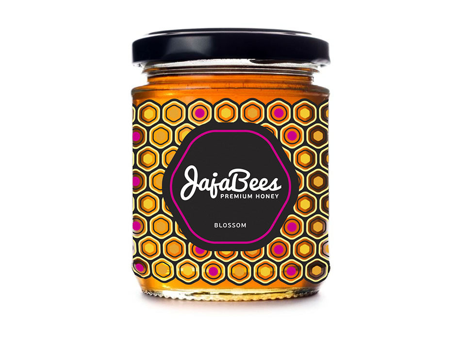 honey packaging design with modern honeycomb pattern - pink accent colour