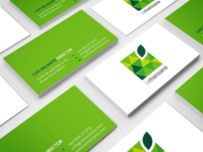 La Manzana square green apple business cards design mockup