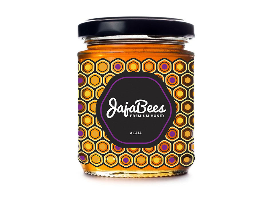 honey packaging design with modern honeycomb pattern - purple accent colour