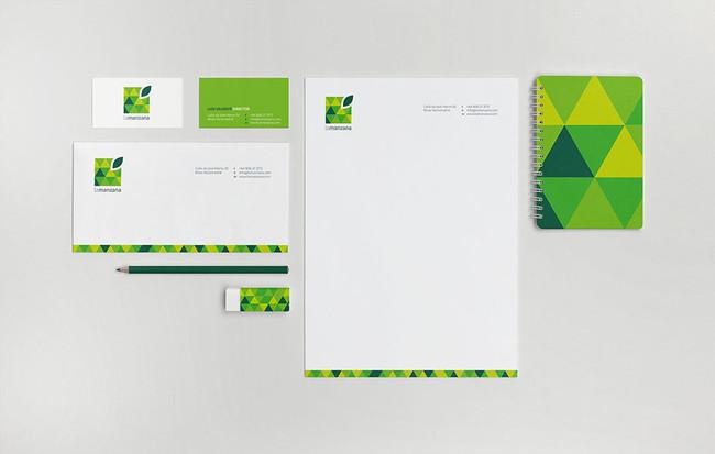 La Manzana square green apple stationery design