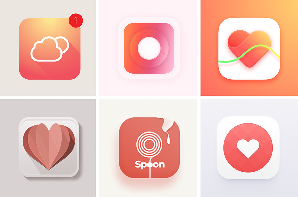 Icons using Living Coral colour