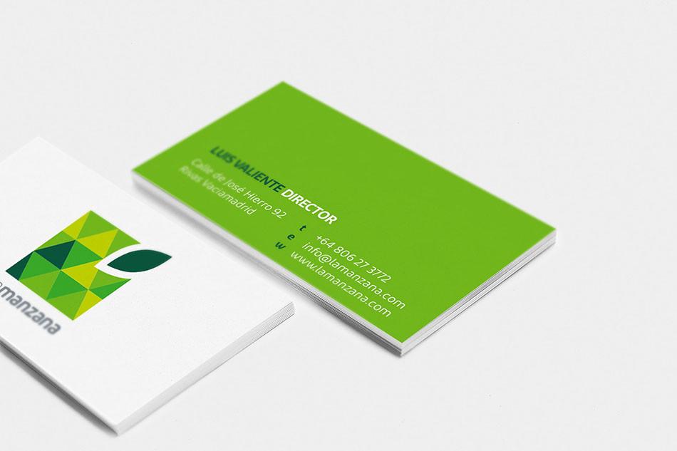 La Manzana square green apple business card design mockup