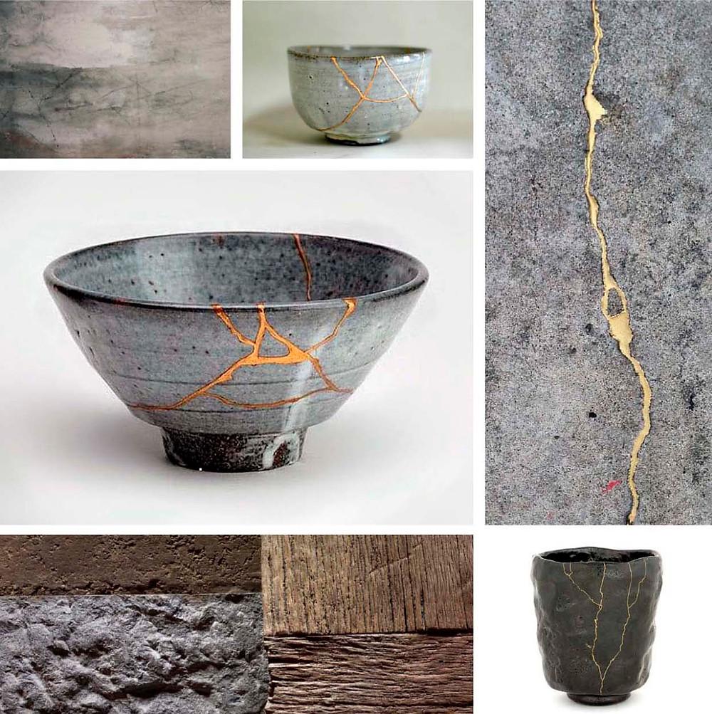wabi-sabi kintsugi ceramics inspiration moodboard