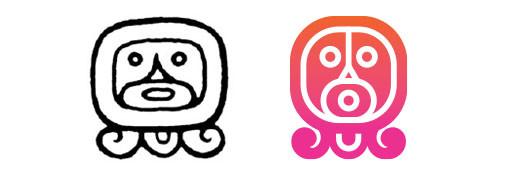 Ahau / Ajpu daysign icon design. Maya Tzolkin Calendar.