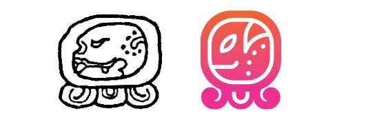 Eb / E daysign icon design. Maya Tzolkin Calendar.