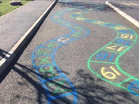 Playground markings are underway...