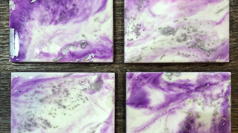 Purple, White, Silver Coasters