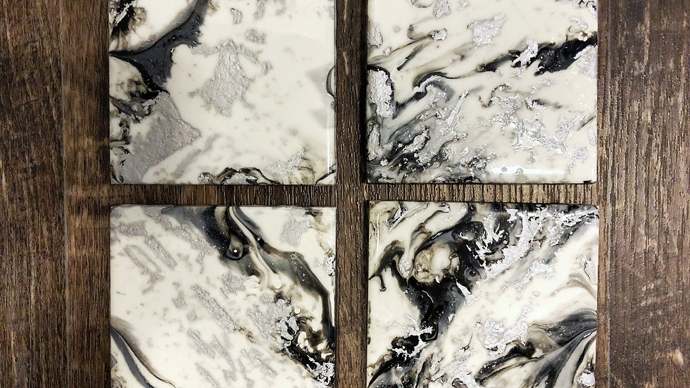 Black, White, Silver Coasters