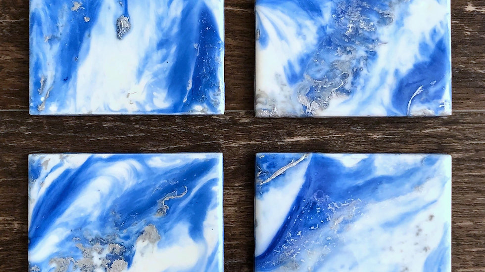Blue, White, Silver Coasters