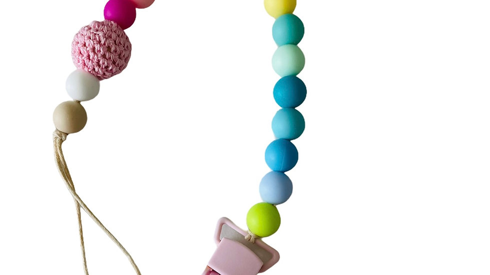 Silicone and crocheted beads pacifier clip