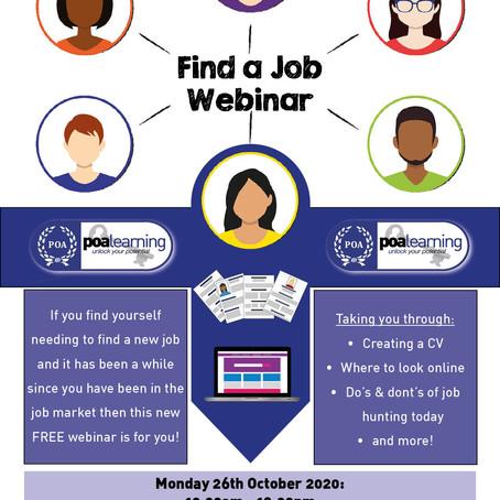Find a Job Webinar - Next Monday...