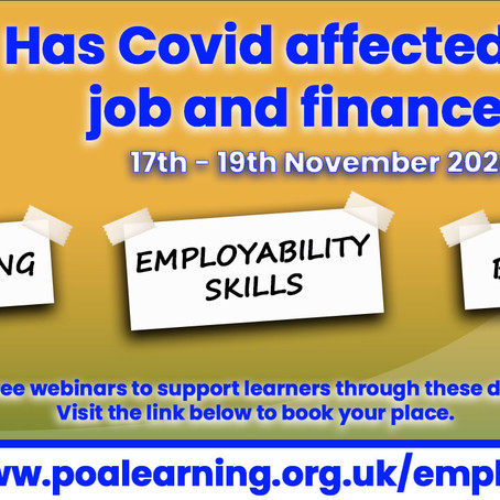 POA Learning provide financial and employment support webinars