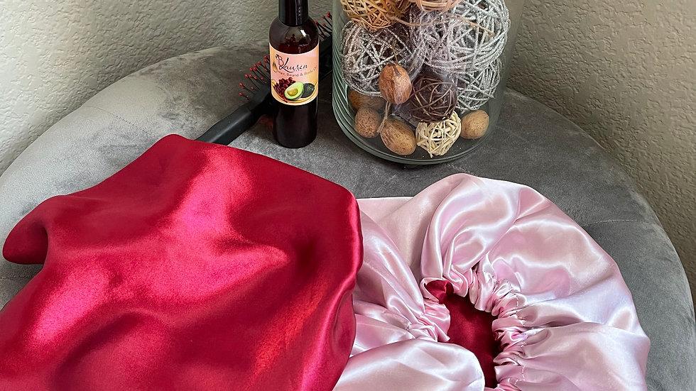 Satin Bonnet- Burgundy & Pink