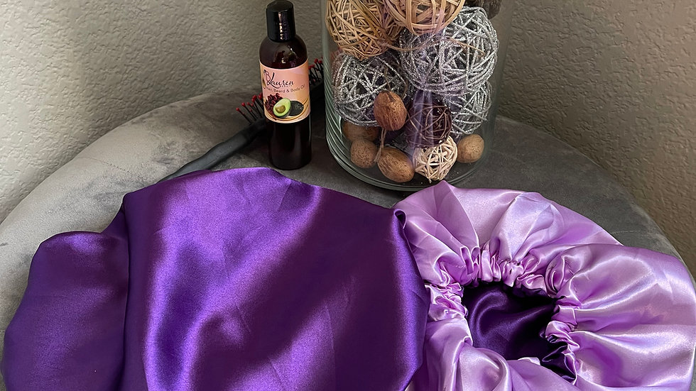 Satin Bonnet - Purple & lilac